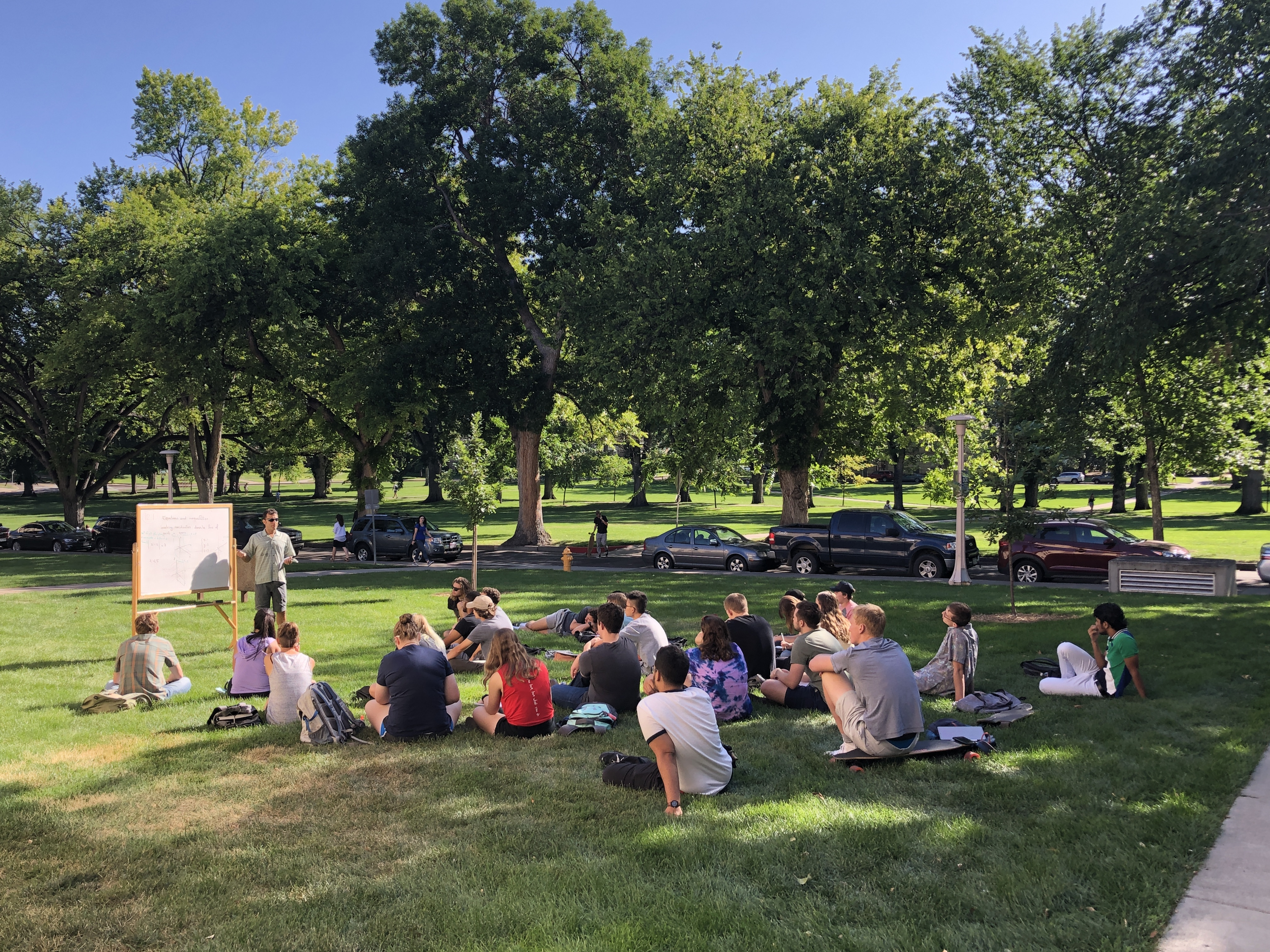 A group of math students sit outside for class while a professor teaches at a whiteboard.